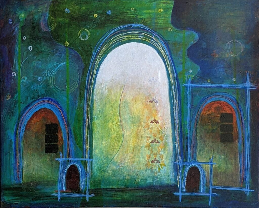 Original abstract painting by Janece Moment. Blue green colors, with five arches... a large central arch in white, two medium arches, one on each side of the center, in red green colors and two smaller arches.. one each, in front, between the center and medium arches. There ar varying circles in the upper background, reminiscent of stars or planets.